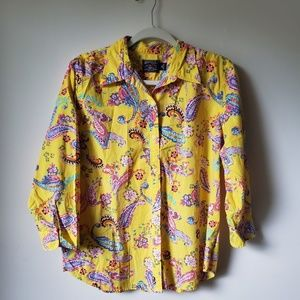 American Living yellow button up with Paisleys